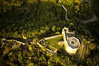 High angle view of the small castle of Aghinolfi in Montignoso, Massa, Italy.