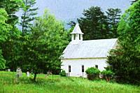 Impressionist art of the Methodist Church in Cades Cove, Great Smoky Mountains National Park, Tennessee USA.