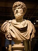 Marble sculpture bust of Co-Emperor Lucius Verus with Marcus Aurelius AD 161-169 Rome at ROM Toronto Canada