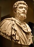 Marble sculpture bust of Emperor Setpimius Severus AD 193-211 Rome with curly hair at ROM Toronto Canada