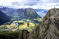 Norway, More og Romsdal, Rauma, Andalsnes, Romsdalseggen Ridge, one of the most famous hike in Norway.