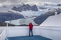 Pia Glacier, from Ventus cruise ship, Pia bay, in Beagle Channel (northwest branch), PN Alberto de Agostini, Tierra del Fuego, Patagonia, Chile.