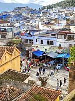 View of city and Rif Mountains, Chefchaouen, Morocco.