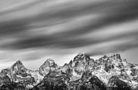Clouds and Peaks, Grand Teton National Park, Wyoming, Usa, America.