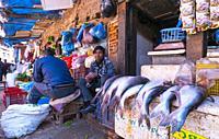 Fish shop, Market, Bhaktapur City, Kathmandu Valley, Nepal, Asia, Unesco World Heritage Site.