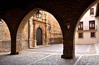 Square of la Iglesia and church, La Iglesuela del Cid, Mestrazgo, Teruel province, Aragon, Spain.