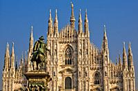 Monument to King Victor Emmanuel II, Milan Cathedral, Metropolitan Cathedral-Basilica of the Nativity of Saint Mary, Duomo di Milano, Piazza del Duomo...