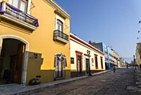 Colourful buildings in the historic city centre, Oaxaca, Mexico.