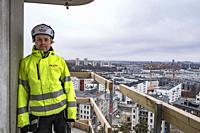 Årstahusen, or Arstahusen, new apartment complex under construction in Årstaberg. Stockholm, Sweden.