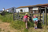 children discovering the animals of the farm close to the Terra do Sempre guesthouse near Grandola, Alentejo region, Portugal, southwertern Europe.