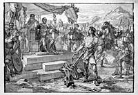 France. Vercingetorix surrenders to Caesar. Vercingetorix ( c. 82 BC - 46 BC) was a king and chieftain of the Arverni tribe; he united the Gauls in a ...
