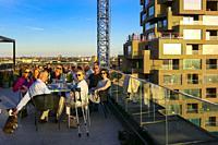 Grownups at a rooftop diner party. Stockholm, Sweden