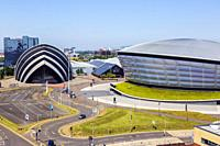 Scottish Exhibition and Conference Centre, SECC, known as the Armadillo because of its shape and the Hydro concert venue, Anderston, Glasgow, Scotland...