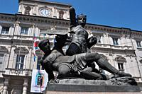 Turin, Italy: monument to Amedeo VI di Savoia, the ´Green Count´, winning against the Turks, facing Palazzo Civico (City Hall)