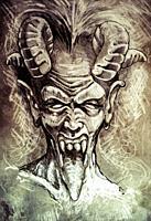 Sketch of tattoo art, devil head, gothic, vintage style.