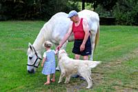 Grandfather and his horse with a 3-year- old girl and a golden retriever dog.