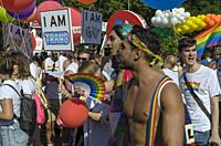 Madrid, Spain, 7 th July 2018. Gay pride parade with participants in Atocha square, 7 th July 2018, Madrid.