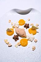 Ice cream, Praliné, Les Moles Restaurant, one-star Michelin, Ulldecona Village, La Senia Territory, Terres de l´Ebre, Tarragona, Catalunya, Spain.