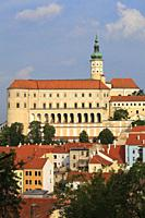 Czech Republic, Moravia, Mikulov, skyline, general view, castle,.