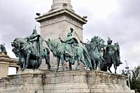 Sculptural group of equestrian riders, Hungary, Millennium Monument or Millenary Monument, Hero´s Square, Budapest, Europe, .