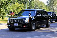 Helsinki, Finland. July 16, 2018. The motorcade of US President Donald Trump and First Lady Melania Trump passes along Ramsaynranta ahead of US and Ru...