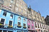 Details of olds buildings and shops in the city of Edinburgh, Scotland