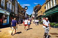 Winchester High Street looking west towards The Castle and showing the clock above Lloyds Bank entrance.