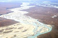 United States, Alaska, Arctic National Wildlife Refuge, North Slope Borough, aerial view with the Sagavanirktok River or Sag River.