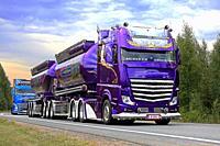 LEMPAALA, FINLAND - AUGUST 9, 2018: Super Truck Mercedes-Benz Actros Lowrider of Kuljetus Auvinen Oy in truck convoy to Power Truck Show 2018, Finland...