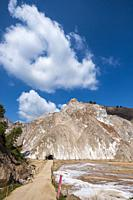 Exterior view of Cardona salt mountain, the largest of its kind in Europe located in Catalonia Spain.