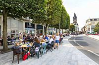 Local pavement restaurant with customers in Douai town centre, Nord District, Picardy, France.