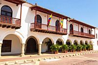 Plaza de la Aduana in the walled city of Cartagena, Colombia. South America. .