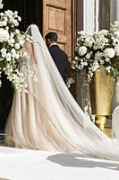 Wedding decoration Bari cathedral exterior on July 14, 2018 Puglia Italy.