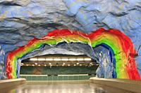 Stadion Metro Station, Stockholm, Sweden.