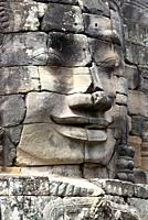Stone sculptures, faces on the Bayon Temple in Angkor Thom, Angkor Temple Complex, Siem Reap, Cambodia, Southeast Asia. Bayon is a well-known and rich...
