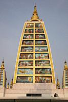 Sacred images painted in a temple inside the Shwedagon pagoda, Yangon, Myanmar, Asia.