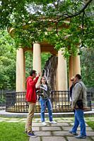 Tour guide with group, Casa de Juntas de Gernika, Gernikako Batzarretxea, Bizkaia, Basque Country, Spain, Europe