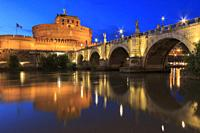 Castel Santangelo in Rome reflected on the Tiber River at sunset.