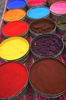 Close-up shot of nature coloring dyes at the open-air market in the town center, Pisac, Valle Sagrado, Cusco Region, Peru, South America