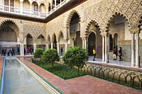 The Patio de las Doncellas (Courtyard of the Maidens) in the Alcazar of Seville. Seville province, Andalusia, Spain.