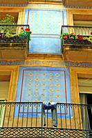 building facade with sgraffito, Ciutat Vella, Barcelona, Catalonia, Spain