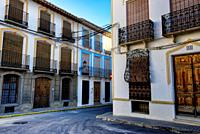 Plaza Mayor, historic part of city of Galera near Baza, mountainous region of northern Andalusia, between the Sierra Nevada and the Sierra de Castril,...