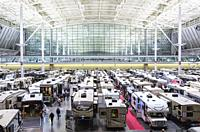 USA, New England, Massachusetts, Boston, Boston Convention Center, RV and camping show, elevated view.