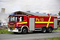 Salo, Finland. September 14, 2018. Fire destroys 5,000 square meters of production and office spaces of Finnish Candle manufacturer Kynttila-Tuote Oy....