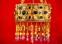 Detail of a votive crown from Visigothic Spain, before 672 AD. Part of the Treasure of Guarrazar offered by Reccesuinth. Out of view are chains for su...