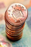 Pile of British pennies.