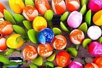 Multi coloured wooden tulips - Brussels, Belgium.