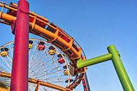 Santa Monica Pierâ. . s rollercoaster in Los Angeles, California.