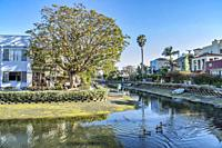 Venice canals in Los Angeles, California.