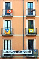 Banner for catalan politics liberty and estelada flag.